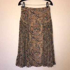 ANTHROPOLOGIE | Paisley Floral Pleated Midi Skirt